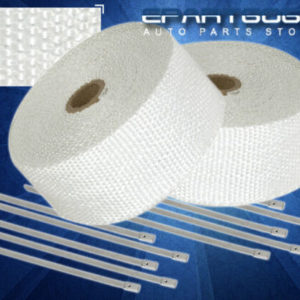 """30ft x 2 x 15mm heat wrap thermo shield exhaust pipe stainless zip tie white 30Ft X 2"""" X 1.5mm Heat Wrap Thermo Shield Exhaust Pipe +Stainless Zip Tie White"""