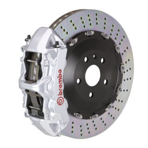 brembo gt 405x34 2 piece 6 piston silver drilled front big brake kit Brembo GT 405x34 2-Piece 6 Piston Silver Drilled Front Big Brake Kit
