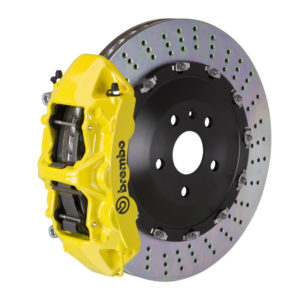 brembo gt 405x34 2 piece 6 piston yellow drilled front big brake kit Brembo GT 405x34 2-Piece 6 Piston Yellow Drilled Front Big Brake Kit