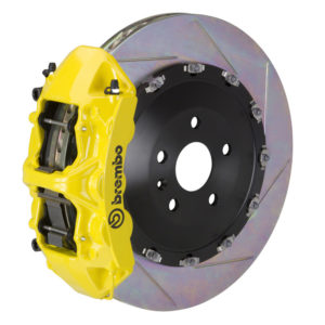 brembo gt 405x34 2 piece 6 piston yellow slotted front big brake kit Brembo GT 405x34 2-Piece 6 Piston Yellow Slotted Front Big Brake Kit